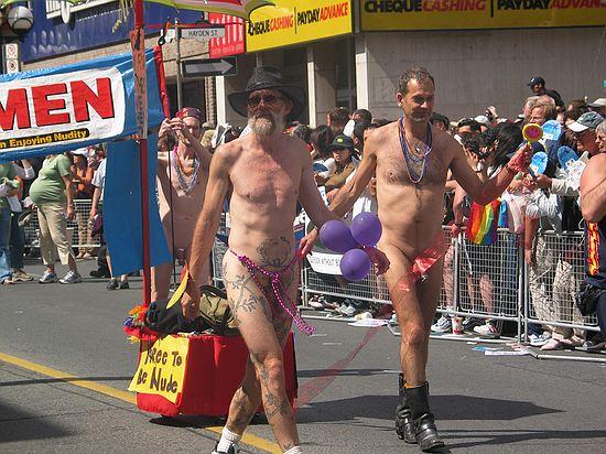 Nude male homosexual in the 2004 Toronto gay pride parade.