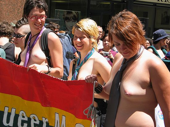 Nude lesbians in the 2004 Toronto dyke pride parade.